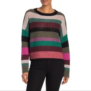 360 Cashmere Ashley Striped Open Knit Sweater